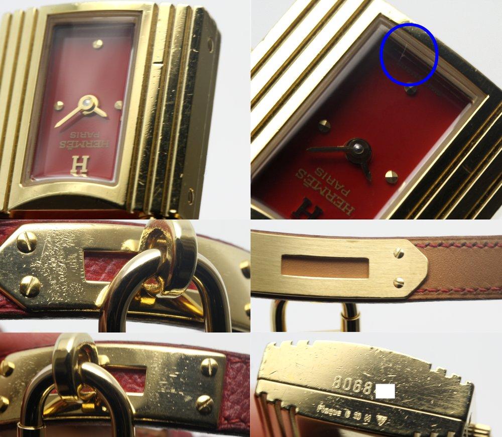 Hermes Kei 1210 Kelly Watch GPX Red Leather Belt Ladies Quartz ...