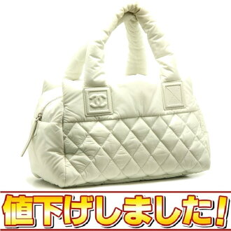 CHANEL ☆-free here cocoon mini-Boston coating nylon white /14682 fs3gm