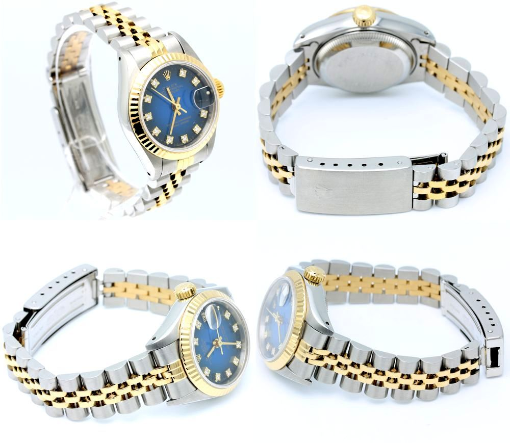 Rolex ladies 69173g blue gradient dial wg datejust oyster perpetual wrist watch ebay for Gradient dial watch