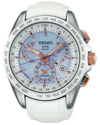 SBXB063 SEIKO セイコー ASTRON アストロン メンズ腕時計 GPS衛星 ソーラー 電波時計 クロノグラフ スーパークリアコーティング ホワイト 革ベルト 国内正規品