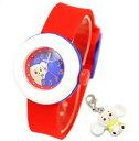 【即日発送 限定販売】Cheburashka チェブラーシカ レディース キッズ腕時計 キャラクター ウォッチ チェブラーシカ チャーム付き かわいいマカロン型 腕時計 レッド×ホワイト 正規品