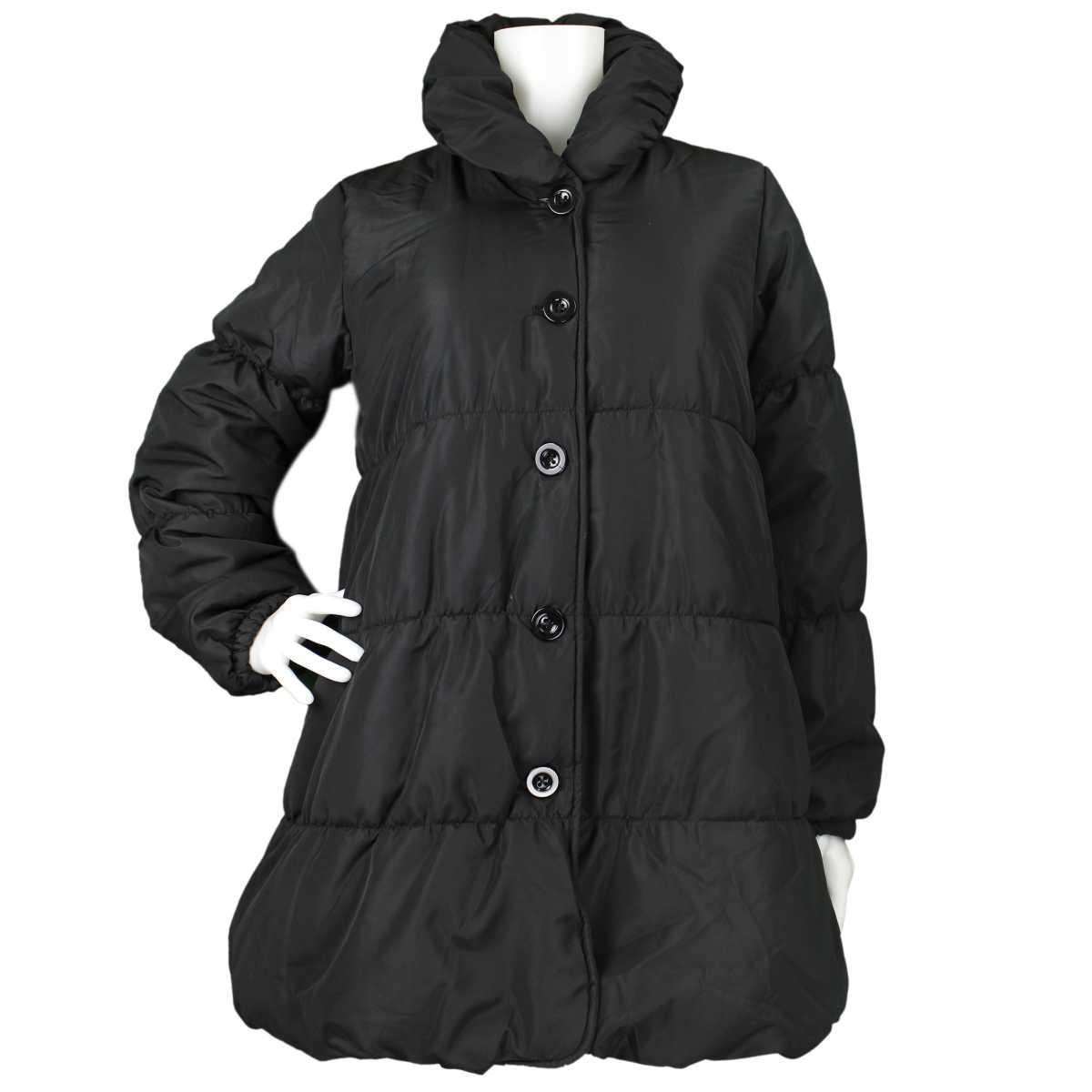 女の子ジュニア中綿ジャンパーAラインコート天使のコートジャケットシンプル無地女の子(ブラック140c