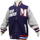 男の子スタジャン風ジップアップジャケット (ネイビー 110cm 120cm 130cm) ボーイズ キッズ ジャンパー コート 全2色