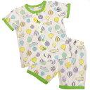 【ゆうメール 送料無料】男の子キッズ気球 飛行船柄半袖パジャマ (グリーン 100 120) ボーイズ キッズ パジャマ 全1色
