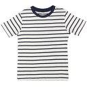 男女兼用 ジュニア Tシャツ 半袖 カットソー ボーダー柄 男の子 女の子 (ホワイト/ネイビー 140cm 150cm 160cm) ボーイズ ジュニア トップス半袖 全3色