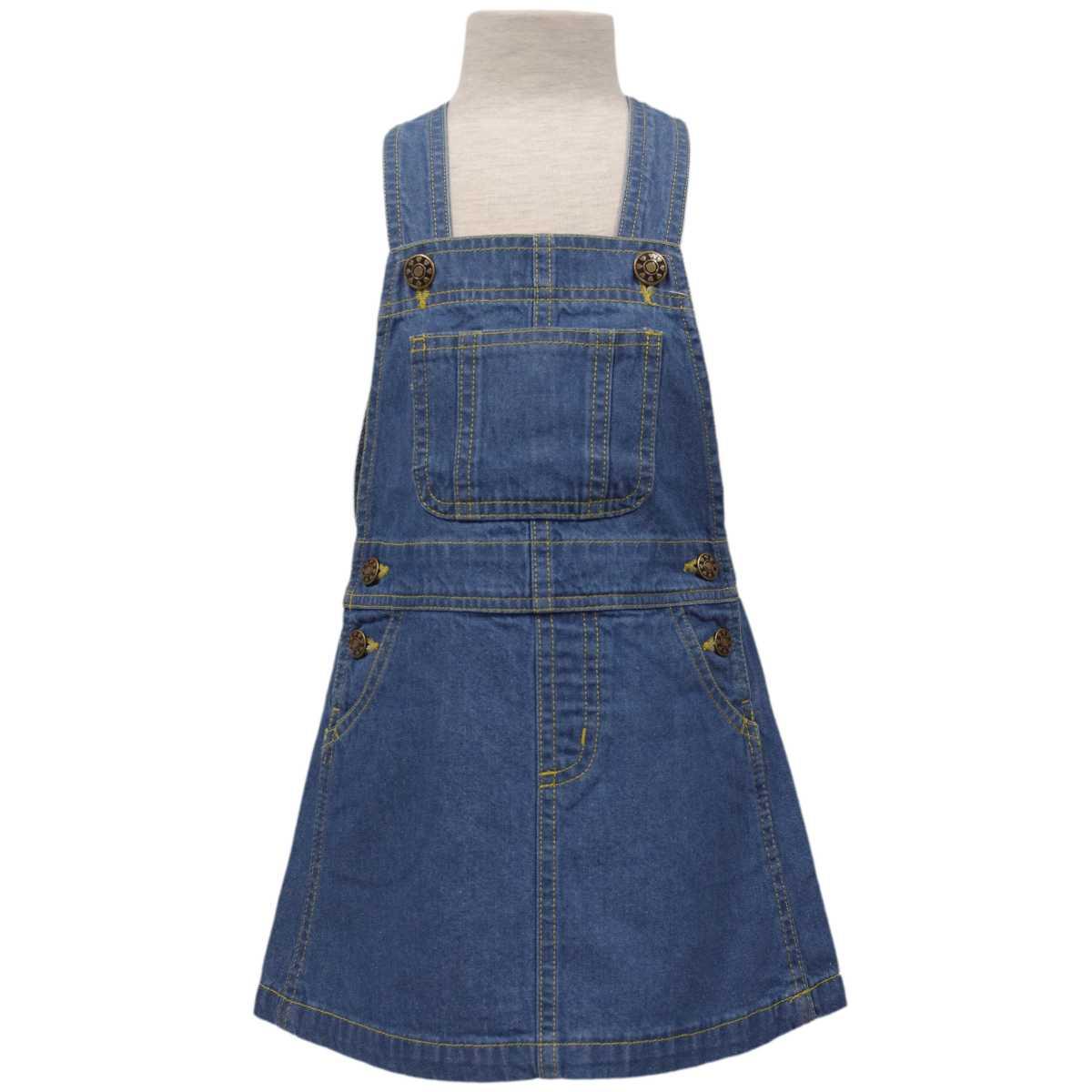 ガールズキッズデニムジャンパースカートAラインジャンスカサロペットスカート女の子女児子供(ブルー11