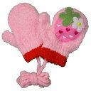 ガールズ ベビー ニットミトン 苺 イチゴ柄 笛付き のびのびミトンタイプ ヒモ付き ミトン手袋 女の子 (ピンク Fcm) ガールズ ベビー スキーウェア 全2色