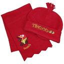 訳あり B品 男女兼用 キッズ TINGCO フリース帽子&マフラーセット 赤い鳥さん 男の子 女の子 (レッド/B品 小サイズ 中サイズ 大サイズ) ボーイズ キッズ 小物 全6色