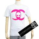 【送料無料】HYDROGEN ハイドロゲン メンズ シャネルモチーフCCスカルロゴ Tシャツ 0B50280 F2 グレー×ピンク