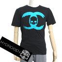 【送料無料】HYDROGEN ハイドロゲン メンズ シャネルモチーフCCスカルロゴ Tシャツ 0B50280 F5 ブラック×ブルー