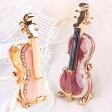 クリスタルジュエリーボックスのトップブランド・ピィアース<バイオリンB ジュエリーボックス>ナイロン弦が張られた本格的な作り!ミニチュアサイズの楽器バイオリン置物 習っている方への誕生日プレゼントに【楽ギフ_包装】