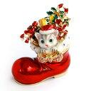 <モモのクリスマス ジュエリーボックス>プレゼントいっぱいの赤いブーツとサンタ帽のネコ ジュエリーボックス 小物入れ 宝石箱 ギフ..