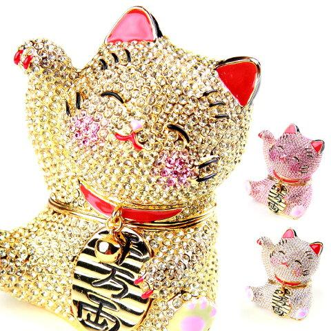 <煌めき招き猫 ジュエリーボックス>ネコ・招き猫の置物 右手を挙げているまねき猫は金運、幸運を呼ぶと言われています 小物入れにもなる縁起物 ギフト 卒業 入学 可愛い 誕生日プレゼント 女性 クリスマス 新生活 母の日 【あす楽対応】