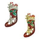 ピンブローチ クリスマスモチーフ 靴下 ブーツ ストー
