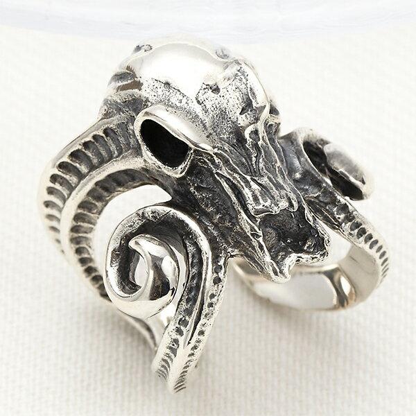 送料無料 メンズリング 指輪 シルバー925 スカル ボリューム 羊 雄羊 角 ツノ リング スタイリッシュ 雄羊のスカルリング クーポン配布