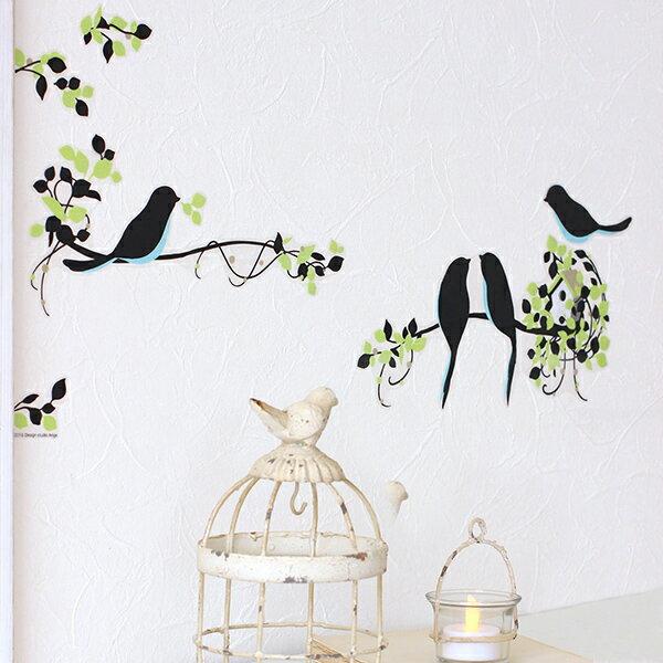 ウォールステッカー ハウスジータ 鳥 葉っぱ 木 緑 グリーン バードハウス さわやか 癒し 涼しげ 可愛い シンプル 壁 シール 貼って はがせる メール便 送料無料 プレゼント 春夏