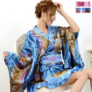 ゴールドパイピングフリルミニ着物ドレス 和柄 衣装