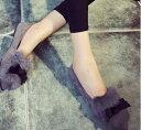 ショッピングフラット リボン付きフラットパンプス ぺたんこ ファーシューズ 痛くない 靴 全3色