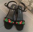刺繍サンダル アンクルベルト 美脚レディース 靴