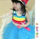 ショッピングcolors 子供服 ボーダーワンピース チュールワンピ 女の子 キッズ ミニ丈 ノースリーブ フレア リボン コットン 6colors