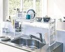 ショッピングキッチン システムラック 収納ツール 収納ラック シンク上 伸縮 組合せ自在 簡単装着 網デザイン ホワイト ブラック 白 黒