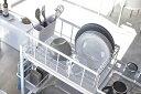 ショッピングキッチン 水切リバスケット 収納ツール 収納ラック システムラック用 カトラリーポケット付き シンク上 組合せ自在 簡単装着 Lサイズ ホワイト ブラック 白 黒