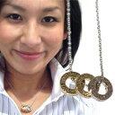 3つのリングの組み合わせ☆メタリックリング型ペンダントネックレス!メッセージ入りの3つのリング!シルバーとゴールドのコンビ!【I NEVER LOOK BACK AGAIN]】20%OFF