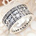 送料無料 メンズリング 指輪 シルバー925製 ユリの紋章 キュービックジルコニア スタイリッシュ 低アレルギー 17号〜23号 17号 19号 21号 23号