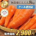 【訳あり】国産 無農薬にんじん ジュース用 8kg【送料無料】