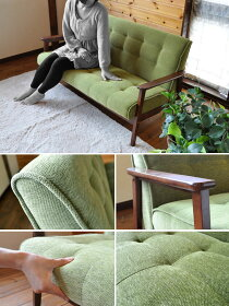 2人掛けソファファブリックソファカフェ家具カフェ家具レトロアンティーク2Pワンルームソファレトロソファファブリック布グリーン緑