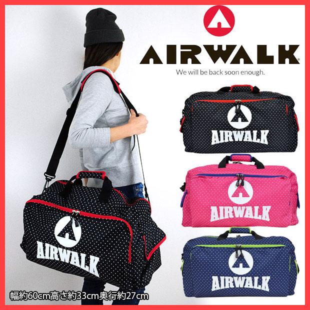 スポーツバッグ AIRWALK 水玉ダッフルボストン ボストンバッグ ボストンバック メンズ レディース 2泊 スポーツバッグ 修学旅行