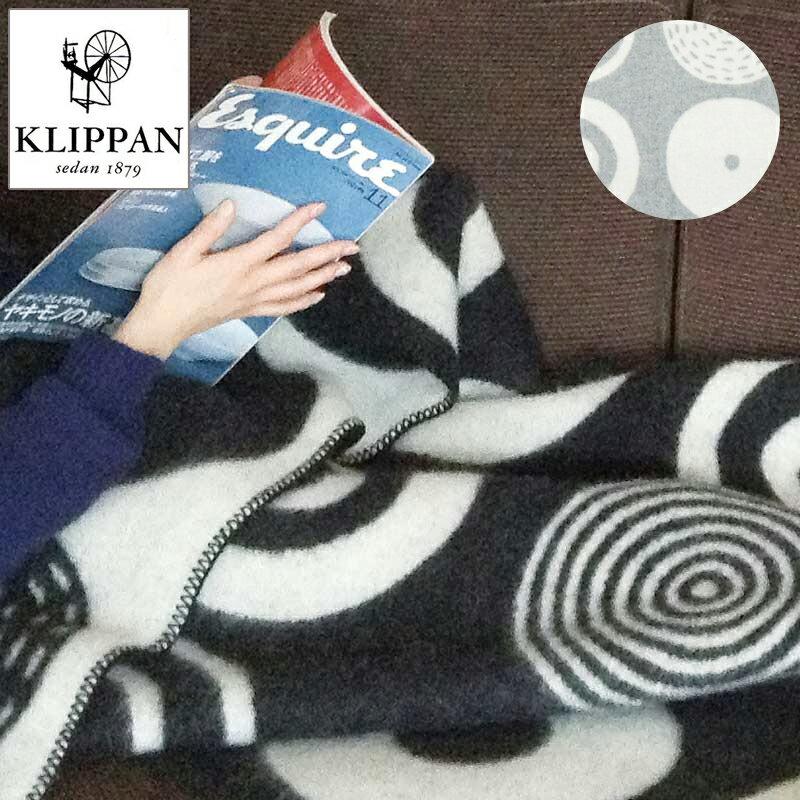 クリッパン/KLIPPAN ラムウールハーフブランケット キャンディ(グレー/ブラック)90×130cm
