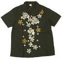 備中倉敷工房 綿麻 オープンシャツ 桜柄 和柄 メンズ 半袖シャツ 25297 黒 新品