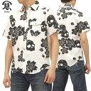 備中倉敷工房 ワークシャツ スカル桜柄 和柄 メンズ 半袖シャツ 25427 オフ白x黒 新品