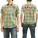 ショッピング半袖シャツ トイズマッコイ チェックワークシャツ TMS1417 ルート66 toys mccoy メンズ 半袖シャツ #161グリーン 新品
