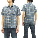 シュガーケーンライト ワークシャツ SC37287 ツイル チェック メンズ 半袖シャツ #125ブルー 新品