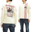 テッドマン カミナリ 長袖Tシャツ TDKMLT-111 バイク柄 メンズ ロンtee オフ白 新品