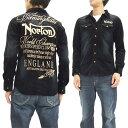 ノートンモーターサイクル コーデュロイ ウエスタンシャツ 色落ち加工 63N1500 Norton Motorcycle メンズ 長袖シャツ ブラック 新品