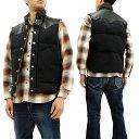シュガーケーン SC12340 レザーヨーク ダウンベスト 東洋エンタープライズ Sugar Cane メンズ 冬用Vest ブラック 新品
