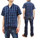 ショッピング半袖シャツ シュガーケーン 半袖シャツ SC38456 東洋 Sugar Cane メンズ ドビーチェック オープンシャツ ネイビー 新品