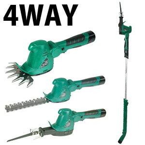 送料無料・代引料無料コードレス4WAYガーデニングツールセットYS130X草刈り機芝刈り機バリカン充