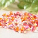 チェコガラスビーズ しずく型 オレンジ×ピンク 10粒 通し穴つき ピアス イヤリング ブレスレット パーツ ハンドメイド 材料 素材