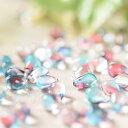 チェコガラスビーズ しずく型 スカイブルー×レッド 10粒 通し穴つき ピアス イヤリング ブレスレット パーツ ハンドメイド 材料 素材