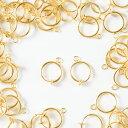 バネ付 フープイヤリング ゴールド 15mm 20個(10ペア) ノンホールフープ 金具 ピアスみたいなイヤリングパーツ 材料 素材