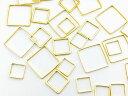 フレームパーツ ゴールド 四角 3サイズmix【0.8cm 1.0cm 1.4cm】サークル 各サイズ4個ずつ計12個 レジンクラフト 型 枠 チャーム ピアス イヤリング パーツ アクセサリーパーツ 材料 素材