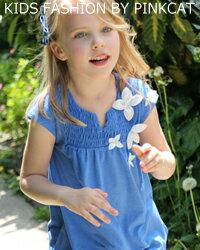 CB26 チュニック 子供 夏【Rora ブロア チュニックロンT】さわやかブルーに可憐な花モチーフが可愛いチュニックt