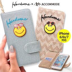 【メール便送料無料】 スマホケース ハンサムスマイル Smile 2way チェーン付き Accomode iPhone6カバー iPhone6s iPhone6 iPhone7 手帳型ケース スマホケース iPhoneケース