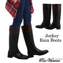 【送料無料】レインブーツ ロング レディース レインシューズ 長靴 ジョッキー レディース靴 ローヒール 雨降り 雪 雨 ラバーブーツ
