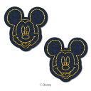 【DISNEY】ディズニー キャラクターミッキーマウス ジーンズミシンステッチ ワッペン【ラッキーシール対応】