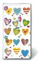Paper+Design 可愛い ペーパーナプキン 上履き デコパージュ お子様・子供におすすめ☆かわいいカラフルなハート☆(Colourful hearts)(W21.5cm×L22cm)(1枚/バラ売り)